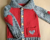 Heart Sweater, Size 2 Year Sweater, Ready to Ship, Wool Cardigan, Sweater with Pockets, Knit Heart Sweater, Heart Elbow Patch, Heart Pockets