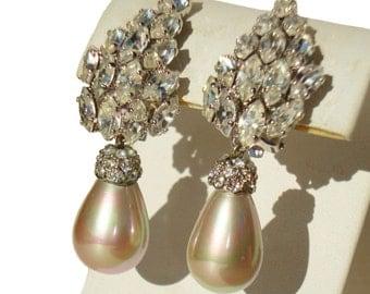 Vintage Cocktail Earrings Rhinestones & Faux Pearl Drop by B.E. Cook of London