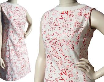 Vintage 60s Dress Rae Petersen Florida Mod Cotton Red & White Shift M