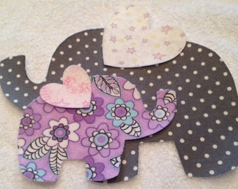 Set of Mommy and Baby Elephant Flannel Iron-on Appliques