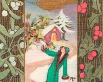 NOW  ON SALE Digital Download 300dpi,Vintage  Art Deco Christmas/ Xmas Postcard, Lady with  Borzoi 1920's