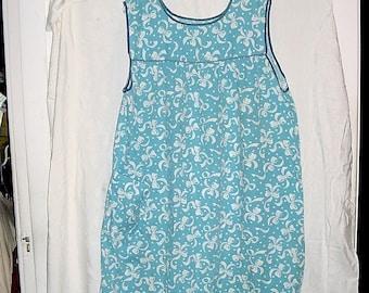 Vintage 60s Blue White Bow L House Dress Poly Blend Sleeveless