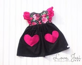 Little Girls Valentine Dress, Baby Girls Dress, Little Girls Dress, Flutter Sleeve Girls Dress, Girls Dress with Pockets, Hearts Dress, Vday