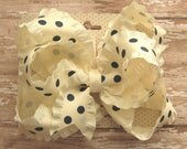 Large 5 inch Boutique Triple Loop Satin Double Ruffle Hair Bow in Ivory and Navy Blue Polka Dots