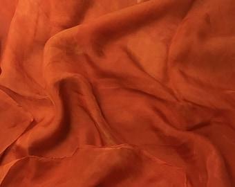 Hand Dyed TANGERINE ORANGE Soft Silk Organza Fabric - 1 Yard