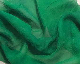 Silk Gauze Chiffon - Hand Dyed Emerald Green - 1 Yard