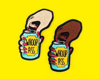 can of whoop ass | Iron on embroidered patch