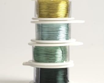 FOREST wire spools , 28 Gauge wire ,  dark green wire , turquoise green,  baby blue , lemon lime , craft wire , DIY supply