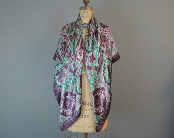 Large Vintage Scarf Shawl, 45x46 inches, Burgundy Mauve Teal Floral