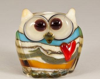 Ivory Desert Owl Lampwork Bead