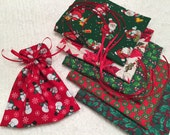 Christmas Assortment, Mini Gift Bags, Candy Bags, Ribbon Tied Pouch, Cotton Pouches, Party Favor Bags, Traditional Christmas Icons, Retro