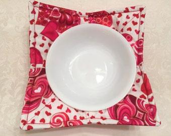 RESERVED FOR KR, Microwave Bowl Cozy, Teacher Gift, Friendship Gift, Leftovers, Pot Holder, Happy Valentine's Day