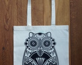 CLEARANCE SALE Up To 90% Off *** Sugar Owl Hand Screen Printed Natural Tote Bag With Black Print ***