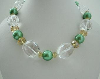 Necklace- Crystal Quartz gems– Apple green shell Pearls- Crystal Quartz rondels - Gift Idea