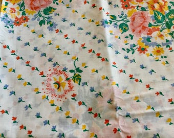 Floral Print Cotton Fabric, White Background , 1.75 yards by 72inches wide