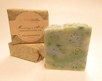 Rosemary + Mint Handmade Olive Oil & Cocoa Butter Soap, Hot Processed Artisan Soap, All Natural Essential Oil soap, Soothing Suds Soap