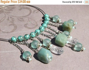 On Sale Gemstone and lucite choker.Verdigris and serpentine choker.Lucite and swarovski crystals.Turquoise. Mint alabaster.