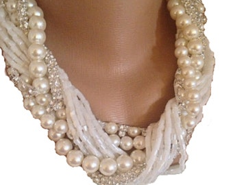 Brides Choker ,braided pearls Weddings Chunky Bold Pearl ,Bridal Ivory Necklace