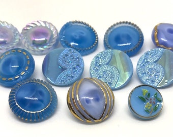 Lot Of 12 Blue Glass Buttons - Different Shades Of Blue - 1960's - Some Iridescent - Some Moonglows