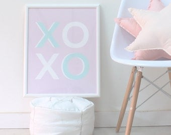XOXO Art Poster, Hugs and Kisses Wall Art, Pink Nursery Art, Pastel Baby Art, Art Print for Kids, Girls Room Poster, Girls Nursery Art Print