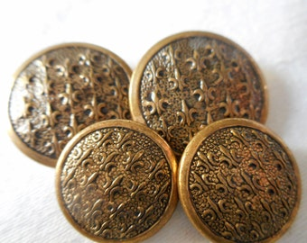 Set of 4 VINTAGE Fleur Di Lis Metal BUTTONS
