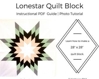 Lone Star Quilt Block Tutorial | PDF Instructions | Instant Download | Quilt Tutorial | Quilt Block Instructional Guide Download