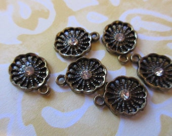 Rhinestone and antique brass charms, round charms,