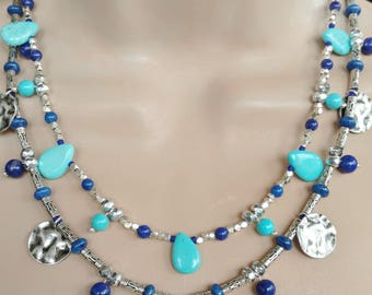 Turquoise Lapis Necklace 2 Strands Turquoise Teardrops Bali Silver Spacers December Birthday