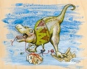 "T-Rex Wrapping Gifts Holiday greeting card, 4"" x 5.5"" folded Christmas card, Dinosaur Christmas card, trex humor struggle with ugly sweater"