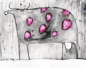 8x12in a4 ink painting  - strawberry milk cow stands in the rain and doesn't care