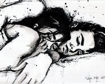 8x12 ink painting canvas roll - cuddling couple - black and white wall art - ver6