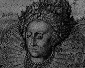 Queen Elizabeth I - 8x10 Typographical Portrait Fine Art Print