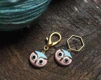 Pink & Blue Owl Knitting Stitch Marker / Progress Keeper