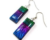 Dichroic Rainbow Earrings- polymer clay jewelry- Resin earrings- Emerald Sapphire Earrings- Ready to Ship- Gifts for Her