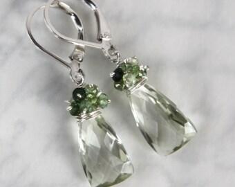 Prasiolite Green Amethyst Earrings with Tourmaline - Sterling Silver