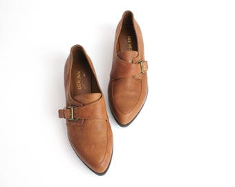 size 8 | Monk Strap Leather Shoes | Almond Toe Brown Leather Oxfords | Nine West Leather Shoes | 38.5