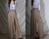 Lotus leaf - idea2lifestyle zen wide leg pants / boho pants high waisted wide leg pants / artistic draping skirt pants / travel pants (K120)