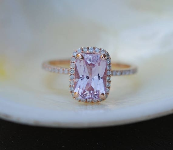 2.32ct emerald cut Peach sapphire Champagne sapphire ring diamond ring 14k rose gold Engagement ring