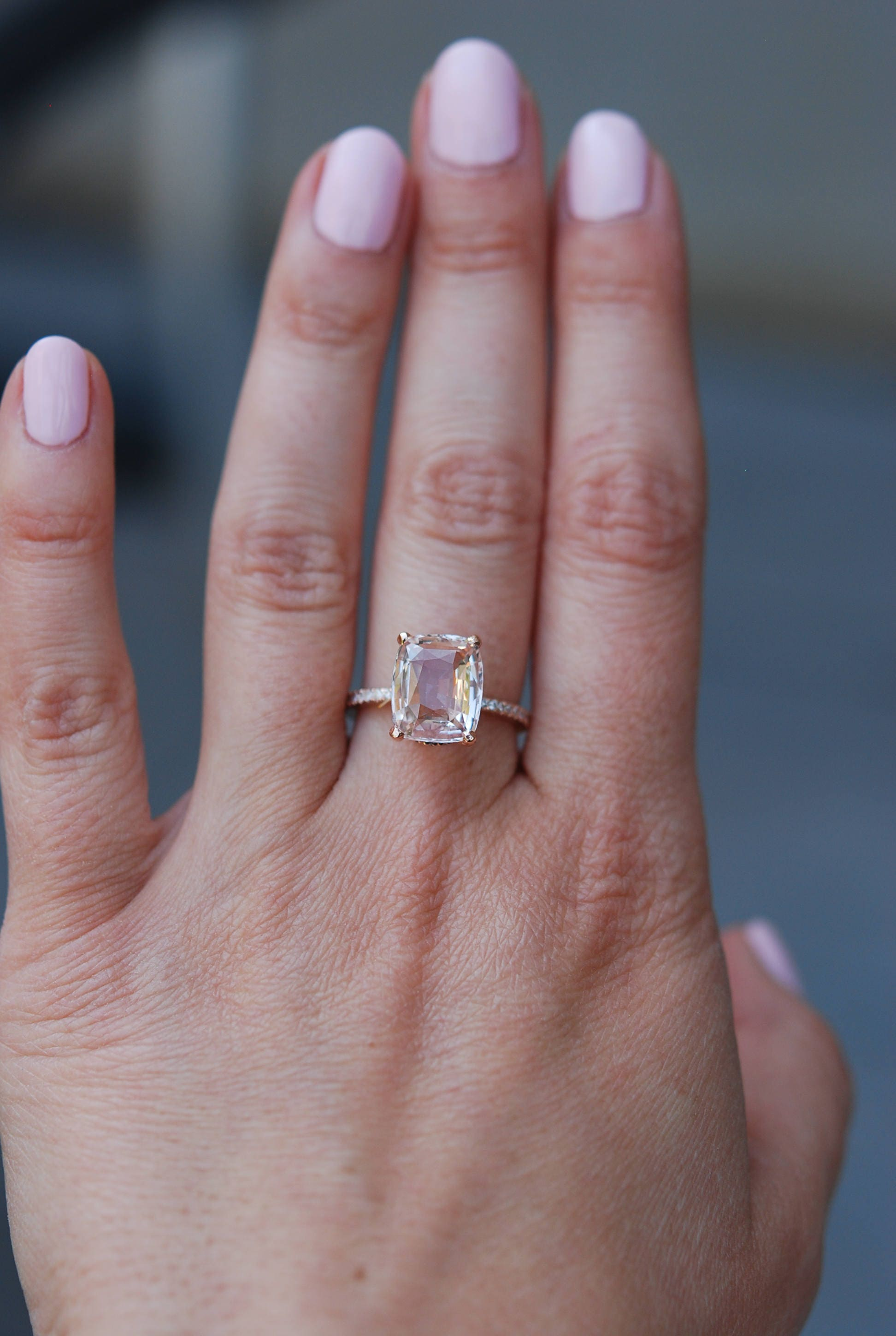 Blake Lively ring Peach Sapphire Engagement Ring cushion cut 18k rose gold di