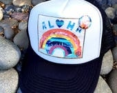 NEW Trucker Hat, ALOHA RAINBOW, limited ed. w/pin back, Aloha,Beach, Surf, Hawaii, One Size Fits All, foam trucker hat, Best Seller