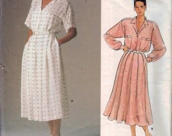 1980s Vintage Sewing Pattern Vogue 1525 Calvin Klein American Designer Misses Button Front Shirt Dress Size 10 Bust 32 33 80s UNCUT