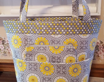 Yellow and Gray Tote Bag