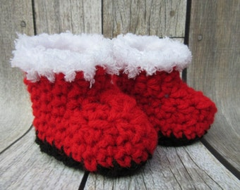 Baby Snow Boots, Baby Christmas Boots, Christmas Booties, Baby Santa Booties, Baby Santa Boots, Crochet Baby Booties, Red Baby Booties