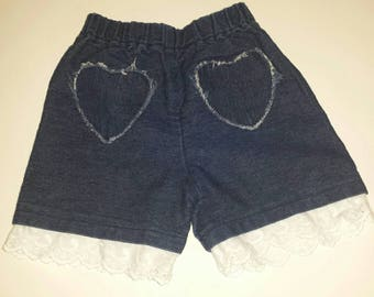 Toddler shorts girls denim shorts with hearts handmade girl clothing 2T FREE SHIPPING