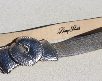 Dotty Smith grey snakeskin belt with hammered silver hook buckles