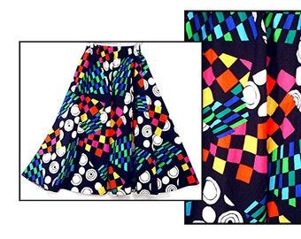 ultimate 80's swing skirt //  vintage GEOMETRIC cotton // color block full skirt XS / S