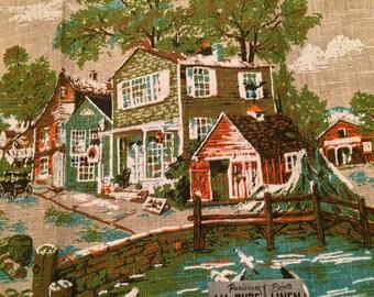 Vintage Linen Parisian Prints Linen Towel By the Sea MWT
