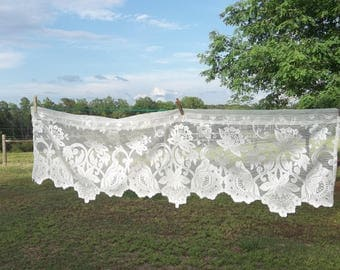 Vintage Lace Valance 54 x 16 Ivory Lace Curtain Window Treatment French Country Farmhouse Prairie Cottage Lace Panel 56x18