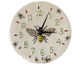 Honeybee Ceramic Wall Clock- White background- 13 inches in diameter