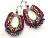 Silver and Rose Bollywood Inspired Earrings